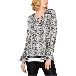NWT Michael Kors Snake Print lace up blouse